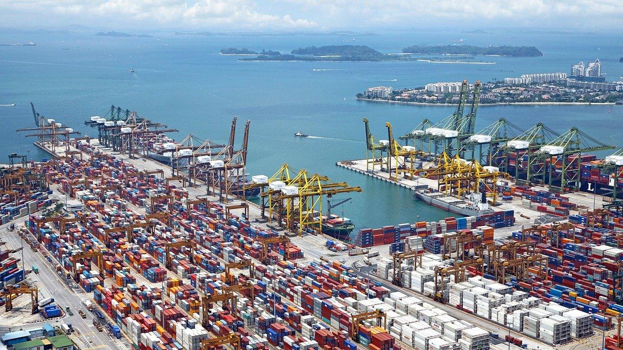 port, ships, cranes
